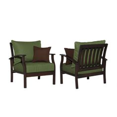 allen + roth Set of 2 Eastfield Cast Aluminum Patio Chairs with Solid Green Cushion
