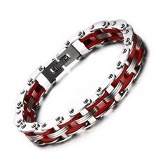 Iftec Classic Design Punk Stainless Steel Bracelet Jewelry Male Biker Red Silicone Bicycle Motorcycle Chain For Men Mens Gold Bracelets, Silver Bangles, Fashion Bracelets, Bangle Bracelets, Fashion Jewelry, Mens Biker Style, Alphonse Elric, Silicone Bracelets, Punk