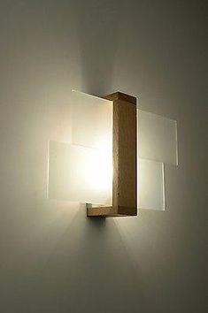 Wall lamp Leda Natural wall lamp light design lighting frosted glass - Home Page Interior Lighting, Home Lighting, Lighting Design, Sconce Lighting, Light Fittings, Light Fixtures, Luminaire Original, Stairway Lighting, Wooden Lamp