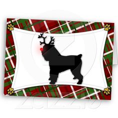 Brussels Griffon Reindeer Christmas Card from Zazzle.com