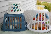 use laundry baskets as cages in a vet's office dramatic play set up