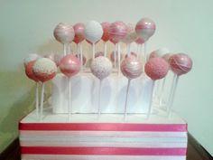 Popkins Cake Pops - Pink & White Cake Pops  www.facebook.com/popkinscpt