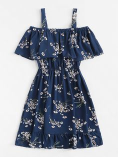 Classy Fashion Tips Cold Shoulder Floral Print Tiered DressFor Women-romwe.Classy Fashion Tips Cold Shoulder Floral Print Tiered DressFor Women-romwe Girls Fashion Clothes, Teen Fashion Outfits, Mode Outfits, Outfits For Teens, Dress Outfits, Girl Outfits, Fashion Dresses, 70s Fashion, Cute Dresses For Teens