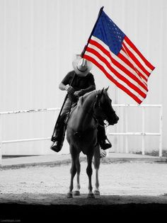 Very patriotic photography of a cowboy and his horse. Perfect for the 4th of July.