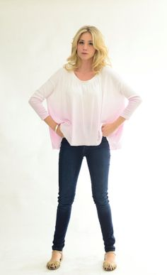 Pink Cotton sweater oversized ombre dyed lagenlook by texturable, $55.00