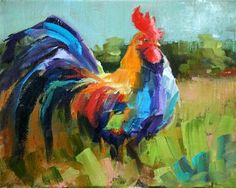 """Daily Paintworks - """"rooster gone wild"""" - Original Fine Art for Sale - © Carol Carmichael"""
