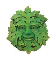 Oak Tree Green Man. Usually referred to in works on architecture as foliate heads or foliate masks, carvings of the Green Man may take many forms, naturalistic or decorative. The simplest depict a man's face peering out of dense foliage. Some may have leaves for hair, perhaps with a leafy beard. http://crystal-life.com/mystic-greenman-plaque