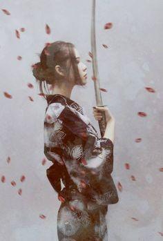 Geisha, samurai, sword, pretty, black and white Samurai Girl, Ronin Samurai, Female Samurai Art, Samurai Warrior, Fantasy Anime, 3d Fantasy, Japanese Culture, Japanese Art, Japanese Kimono