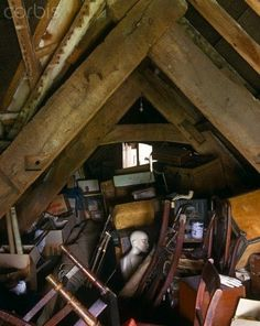 The lumber room in this attic has accumulated 300 years of abandoned possessions - - Rights Managed - Stock Photo - Corbis Abandoned Farm Houses, Abandoned Mansions, Old Houses, Old Buildings, Abandoned Buildings, Abandoned Places, Folk Victorian, Victorian Houses, Hole In The Sky