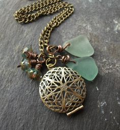 cfc182fe40a88 Scottish Seaglass Necklace with Brass Locket and Czech Glass Beads-  Beachwear-Beach Wedding-by Natures Design