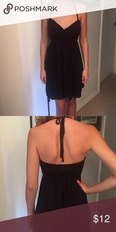 Black Halter Coverup Dress Super cute black halter tie neck sundress/coverup! Excellent condition, worn minimal times. Kim Rogers Dresses Mini