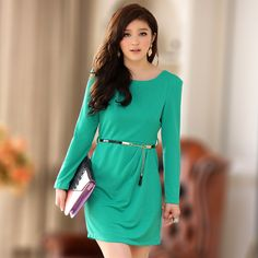 b1ff0c775ef7 Korean Style Round Collar Slim Women Knit Plus Size Dresses