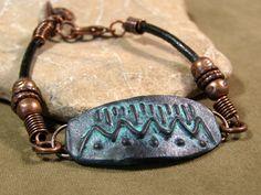 Tribal Bracelet  Native Bracelet  Leather by StoneWearDesigns, $48.00