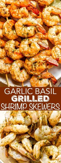 When it comes to cooking shrimp, I swear by this Garlic Basil Grilled Shrimp Skewers recipe. Crisp and juicy grilled shrimp are stacked on a skewer and marinated to perfection with garlic, lime, and other simple seasonings. #grilledshrimp #shrimpskewers #shrimpkabobs #howtogrillshrimp Grilled Shrimp Kabobs, Grilled Shrimp Recipes, Shrimp Recipes For Dinner, Best Seafood Recipes, Grilled Fruit, Fish Recipes, Grilled Shrimp Seasoning, Skewer Recipes, Grilled Vegetables