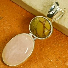 Checkout this amazing deal Genuine Rose Quartz and Picasso Jasper Pendant with 925 Silver Chain,$15