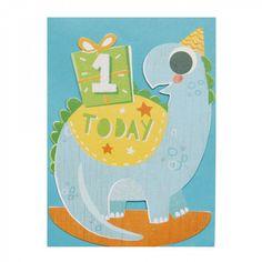 Dinosaur rocking 1st birthday card