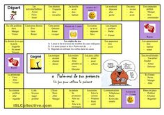 C'est un jeu pour travailler la conjugaison des verbes en -er au présent. Chaque joueur lance le dé et fait des phrases sur le sujet de la case en utilisant les verbes suggérés. - Fiches FLE
