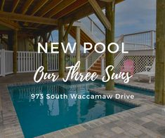 2020 Notice: The owners of Our Three Sons have installed a 14-foot-by-12-and-a-half-foot saltwater swimming pool, just in time for the 2020 rental season! The finished pool will feature a depth of four-foot. The exterior of the property will include new AZEK decking and railing. Decking, Vacation Rentals, View Photos, Kansas, Swimming Pools, Sons, Ocean, Exterior, City