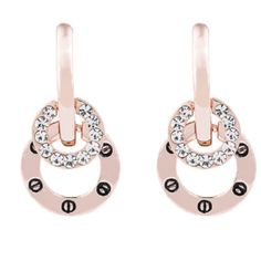 Crystal and Rose Gold Earrings Crystal and Rose Gold engraved drop earrings brand new in package. 22mm in length 14k rose gold plated brass/Crystal absolutely sparkling and stunning Silver & Co. Jewelry Earrings