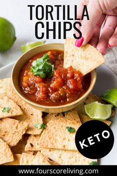 Made from homemade tortillas, these Keto Tortilla chips are low carb, crispy, crunchy, salty, and perfect for dipping into your favorite keto dips. Keto Tortillas, Homemade Tortillas, Slow Carb Recipes, Healthy Recipes, Low Carb Chips, Low Carb Appetizers, Tortilla Chips, Keto Snacks, Low Carb Keto