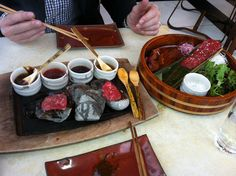 Wagyu beef at Sushi Samba - cook it at the table on hot stones.