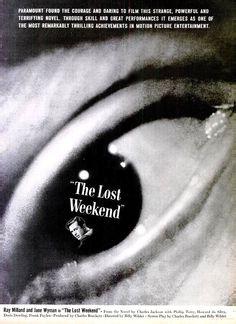 1945 The Lost Weekend Hollywood Movie Print Poster Advertisement Ray Milland & Jane Wyman Theatre Movie Film Noir Cinema Wall Art Home Decor