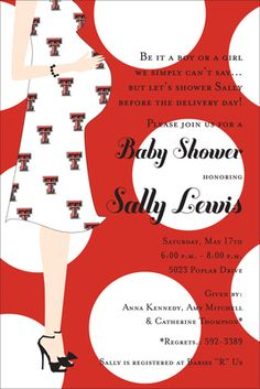 Texas Tech Baby Shower Invitations #TTAA #LegacyProgram #SupportTradition http://www.texastechalumni.org/s/1422/index.aspx?sid=1422&gid=1&pgid=389