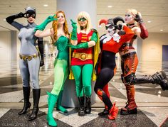 Catwoman, Poison Ivy, Robin, and two Harley Quinns, Gotham City ladies.