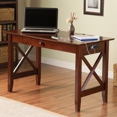 Atlantic Furniture Lexi Charger Writing Desk In Walnut