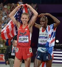 Friends and training partners- Farah wins Gold & Rupp wins Silver in 10,000 meters
