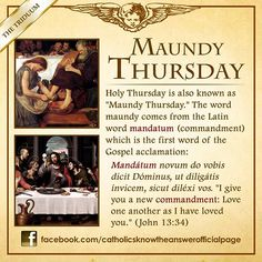 Maundy or Holy Thursday of the Passion of Our Lord Jesus Christ Evening Mass of the Lord's Supper and The Seven Churches Visitation Holy Thursday Catholic, Catholic Lent, Catholic Theology, Catholic Answers, Catholic Religion, Catholic Quotes, Catholic Prayers, Roman Catholic, Catholic Traditions