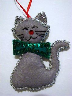 "Hand Crafted 4 1 2"" Felt Gray Cat Kitty Sequined Christmas Ornament New 