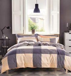 Bawełniana szara pościel do sypialni w kratę