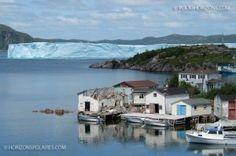 Iceberg and the community of Southport, Random Sound, Newfoundland