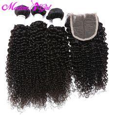 Brazilian curly virgin hair with closure 3 pcs Brazilian kinky curly hair with closure 7a curly weave human hair with closure