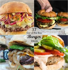 37 Out of the Box Burger Ideas ~ Burgers, burgers, and more burgers, from the classic beef burger to unique meatless option and everything in-between.