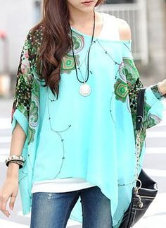 Floral Casual Chiffon Oblique Neckline Half Sleeve Blouses (1098506)