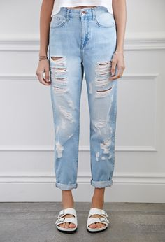 Image result for distressed high waisted jeans