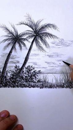 Pencil Drawings Of Nature, Landscape Pencil Drawings, Art Drawings Sketches Simple, Sea Drawing, Drawing Sunset, Coconut Tree Drawing, Art Painting Gallery, Art Drawings Beautiful, Diy Canvas Art