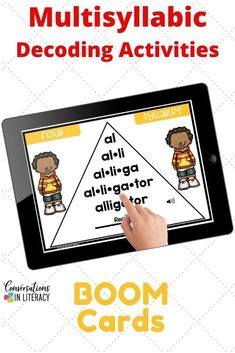 Digital Distance Learning for Elementary School students! Multisyllabic 4 syllable word activities are great for word work, small group, reading interventions, & literacy centers! Students practice decoding fluency phrases, self check audio & learn comprehension skills this common core product #guidedreading #fluency #conversationsinliteracy #comprehension #phonics #classroom #boomcards #elementary #thirdgrade #fifthgrade #fourthgrade 5th grade, 3rd grade, 4th grade