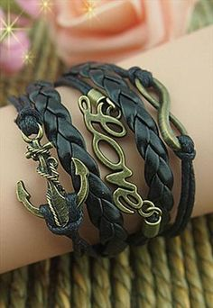 black bracelet for girls and boys,anchor bracelet,Bacelet
