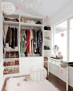 40 Ways to Organize Your Closet - Floor to ceiling closet design with built in shelving, mirrored vanity, and a chic fur rug
