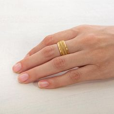 Wide Gold Wheat Ring Band for Women Handmade Braid Ring ⦁ Ethnic Gold Wedding Band ⦁ Israeli Designers Jewelry Gold Jewelry Simple, Gold Rings Jewelry, Gold Jewellery Design, Gold Bracelets, Hand Jewelry, Jewelry Designer, Pandora Jewelry, Wire Jewelry, Gold Necklace