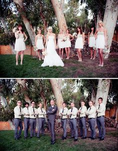 love this stylish, vintage and slightly casual wedding- maybe add the guys with the girls too and have it look like that @Holly Marie