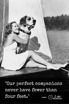 """""""Our perfect companions never have fewer than four feet."""" -Colette"""