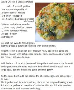 Baked Cheese and  Broccoli Patties