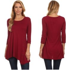 sold out ️Wine tunic with side button asymmetrical hem.Please do not purchase this listing. Comment with size and I will create a new listing for you. Small (2/4) Medium (6/8) Large (10/12) XL (14). Price is firm unless bundled. Small & Medium Tops