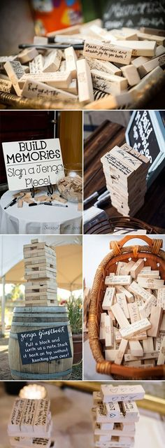 """11 jenga Wood guestbook alternative wedding guest book tree stacking game wedding game redwood mahogany rustic wedding wedding games Guest """"Book"""" Be Gone - Creative And Unique Guest Book Alternative - Forevermorebling Wedding Favors And Gifts, Wedding Games For Guests, Creative Wedding Favors, Wedding Themes, Wedding Guest Gifts, Wedding Presents For Guests, Wedding Venues, Games For Weddings, Wedding Hacks"""