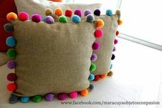 Trends: Pom pom - Me (Lele) and the Children - DIY Home Crafts, Diy And Crafts, Crafts For Kids, Arts And Crafts, Preschool Crafts, Diy Pillows, Decorative Pillows, Craft Projects, Sewing Projects