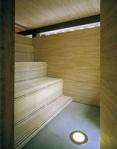 the mill house - västra karup - gert wingårdh - sauna Design Sauna, Tiny Living, Living Spaces, Sauna Hammam, Traditional Saunas, Sweden House, Outdoor Sauna, Shabby Chic, Limestone Flooring